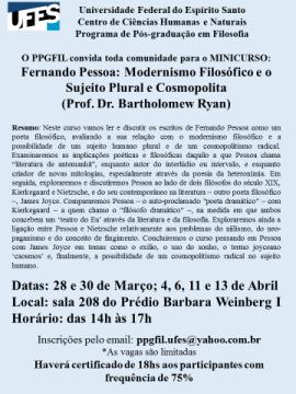 Minicurso Fernando Pessoa: modernismo filosófico e o sujeito plural e cosmopolita